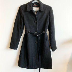 Via Spiga Black Belted Collared Pea Coat